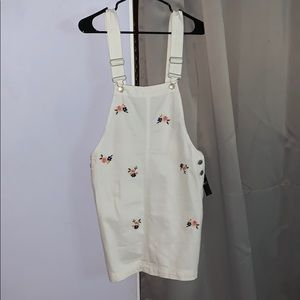 White Overall Dress with Flower Embroidery